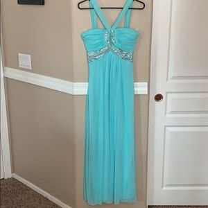 Lovely Teal Prom Dress with Gems